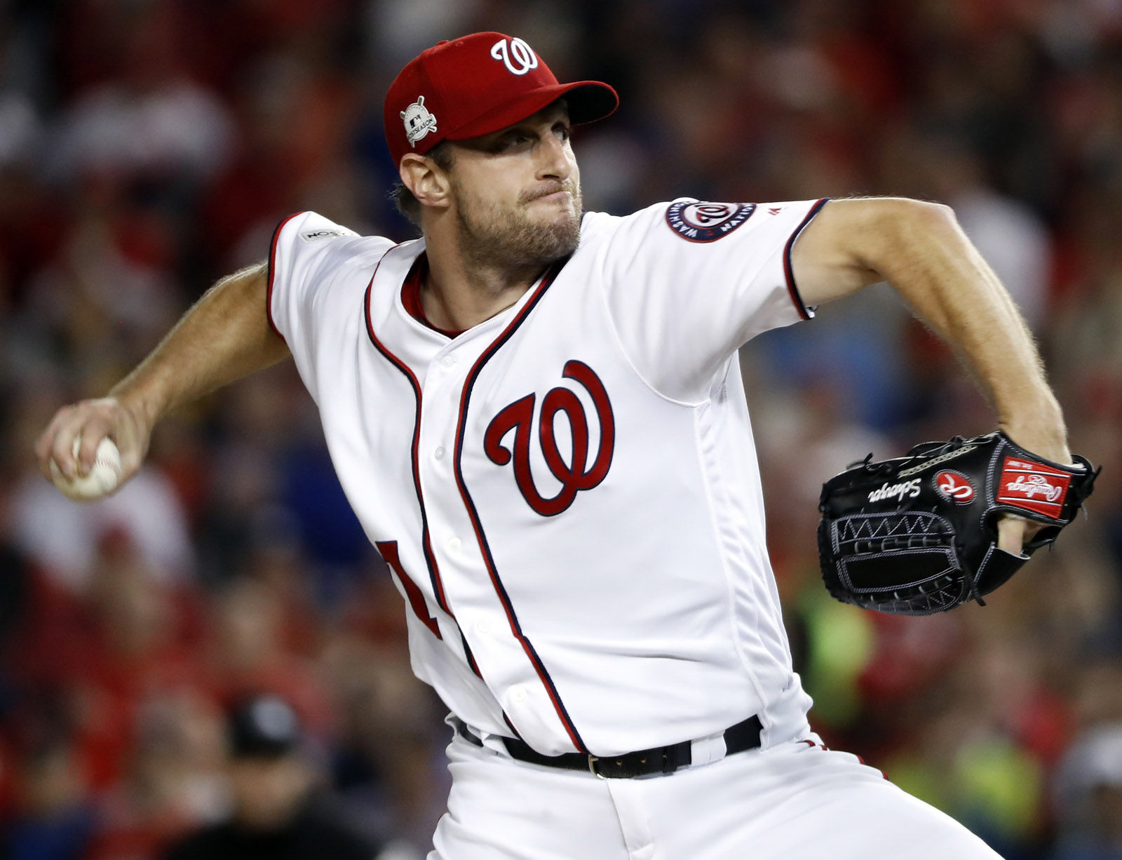 Washington Nationals relief pitcher Max Scherzer (31) throws during the fifth inning in Game 5 of baseball's National League Division Series against the Chicago Cubs, at Nationals Park, Thursday, Oct. 12, 2017, in Washington. (AP Photo/Pablo Martinez Monsivais)