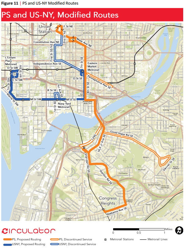 Proposed changes to the Navy Yard - Skyland route. (Courtesy DDOT)