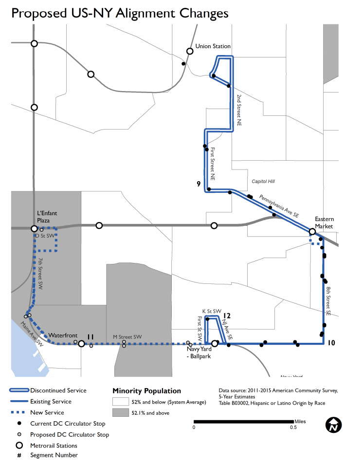 Proposed Navy Yard route changes. (Courtesy DDOT)