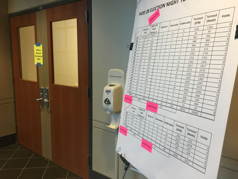 A recount begins Thursday in Stafford County for the 28th District race. Republican Bob Thomas led Democrat Joshua Cole by 82 votes after the Nov. 7 election. (WTOP/Max Smith)