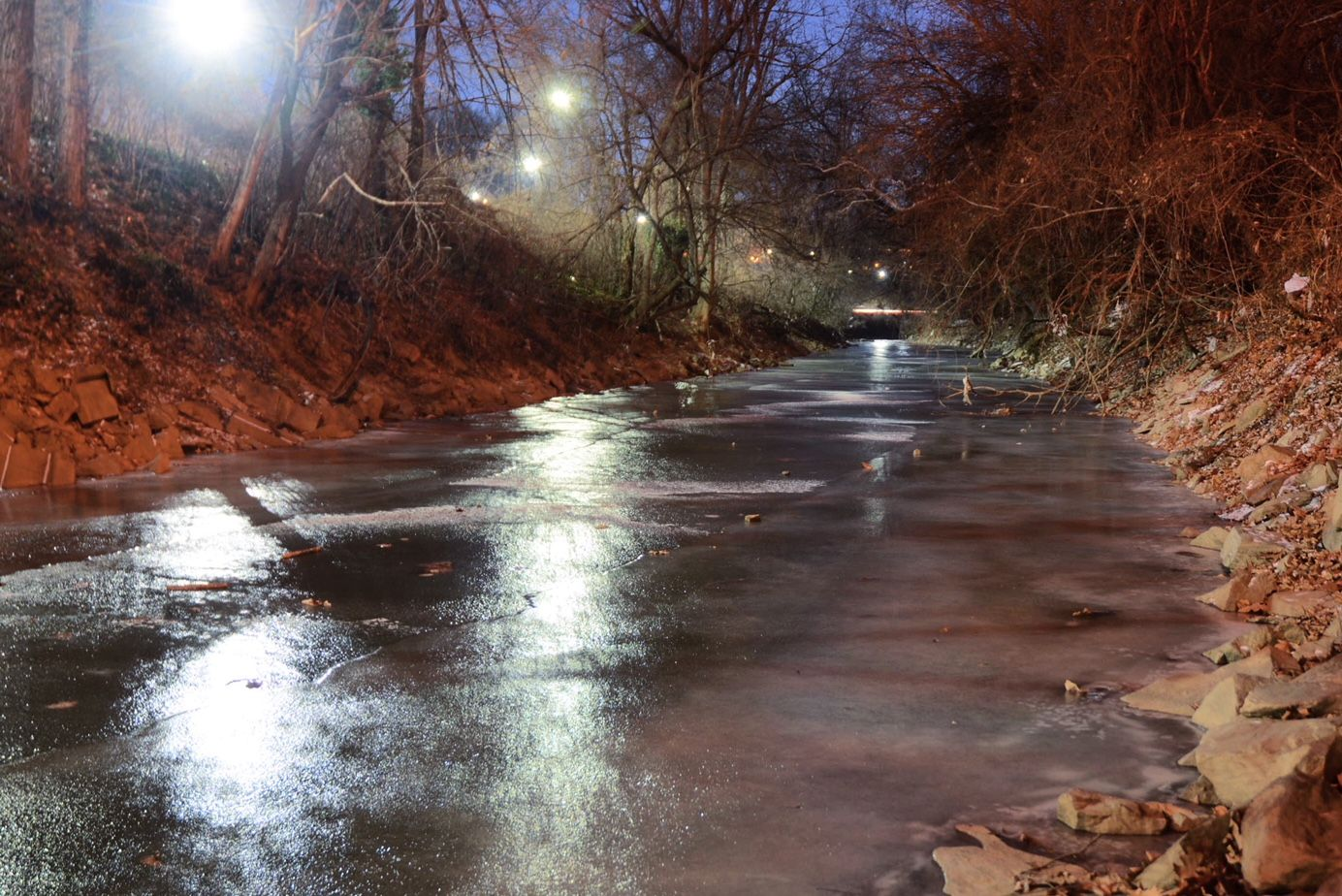 Rock Creek freezes as arctic air spills over the Washington region on the final day of 2017. (WTOP/Dave Dildine)