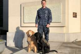 Hospital Corpsman First Class Robert Park pose with Walter Reed National Military Medical Center facility dogs Goldie and Dillon. (WTOP/Kate Ryan)