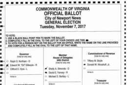 The disputed ballot that ended the race in a tie. Democrat Shelly Simonds had asked the court to reverse course and declare her the winner. (Ballot in court documents)