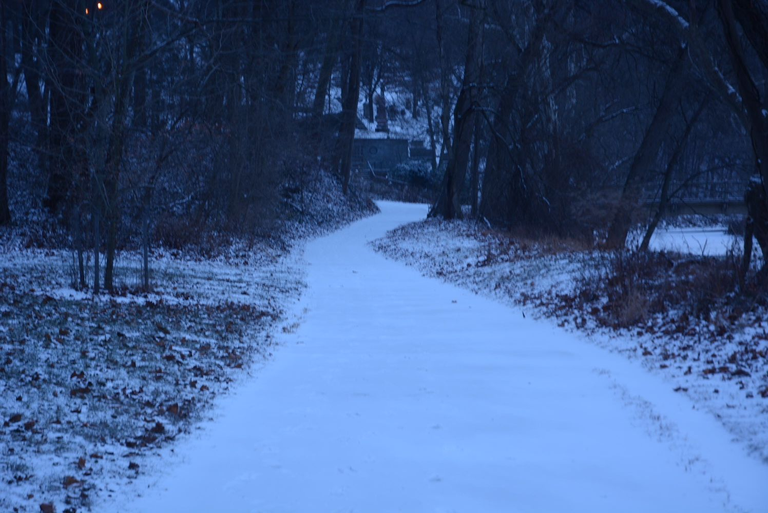 Snow covers Rock Creek Trail on Thursday morning. (WTOP/Dave Dildine)