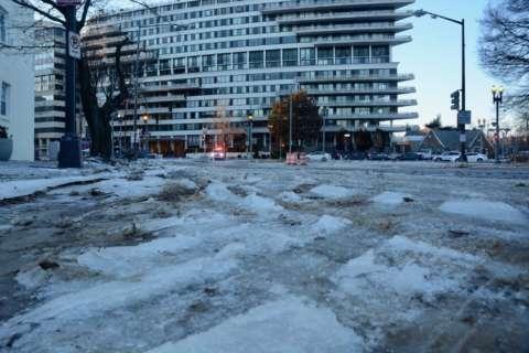Water main break freezes, blocking arteries in NW DC