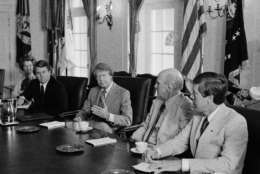 President Jimmy Carter meets with congressional supporters of the proposed B-1 bomber, June 7, 1977 in Washington.  From left are Rep. Marjorie Holt, (R-Md.), Rep. Wesley W. Watkins (D-Okla.), Carter, Sen. Alan Cranston (D-Calif.), and Rep. Jack Brinkley (D-Ga.).  (AP Photo/Harvey Georges)