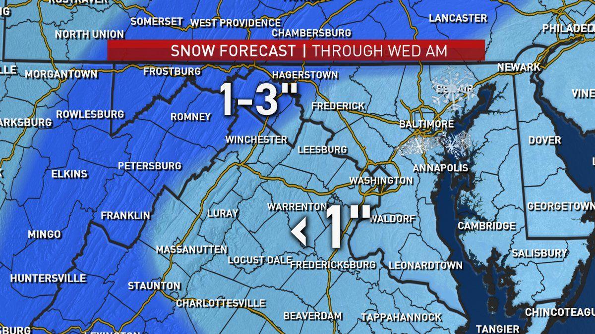 Anticipated snow totals for Wednesday. (Courtesy NBC Washington)