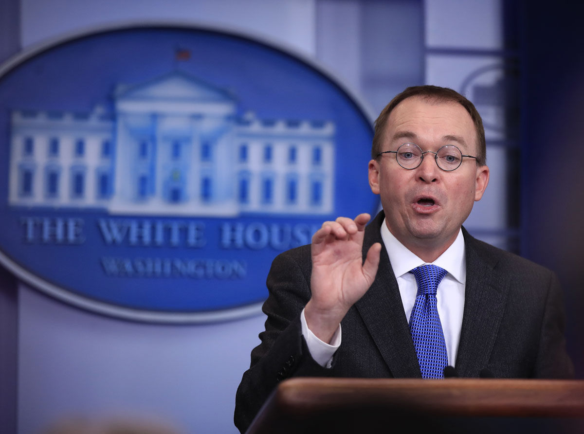 Office of Management and Budget Director Mick Mulvaney, speaks to reporters about a possible government shutdown, during a briefing in the Brady press briefing room at the White House, in Washington, Friday, Jan. 19, 2018. (AP Photo/Manuel Balce Ceneta)