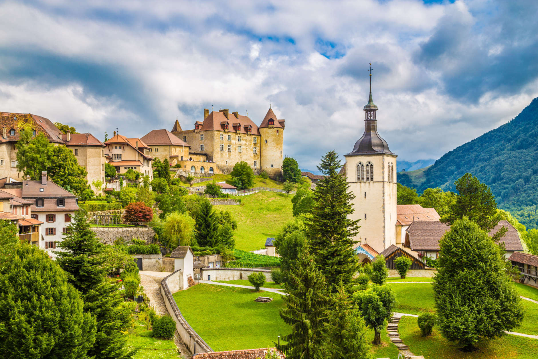 Beautiful view of the medieval town of Gruyeres, home to the world-famous Le Gruyere cheese, canton of Fribourg, Switzerland.