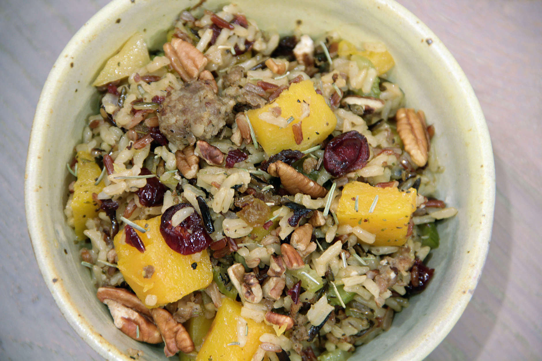 This Oct. 12, 2016 photo shows wild rice dressing in Coronado, Calif. This dish is from a recipe by Melissa d'Arabian. (Melissa d'Arabian via AP)
