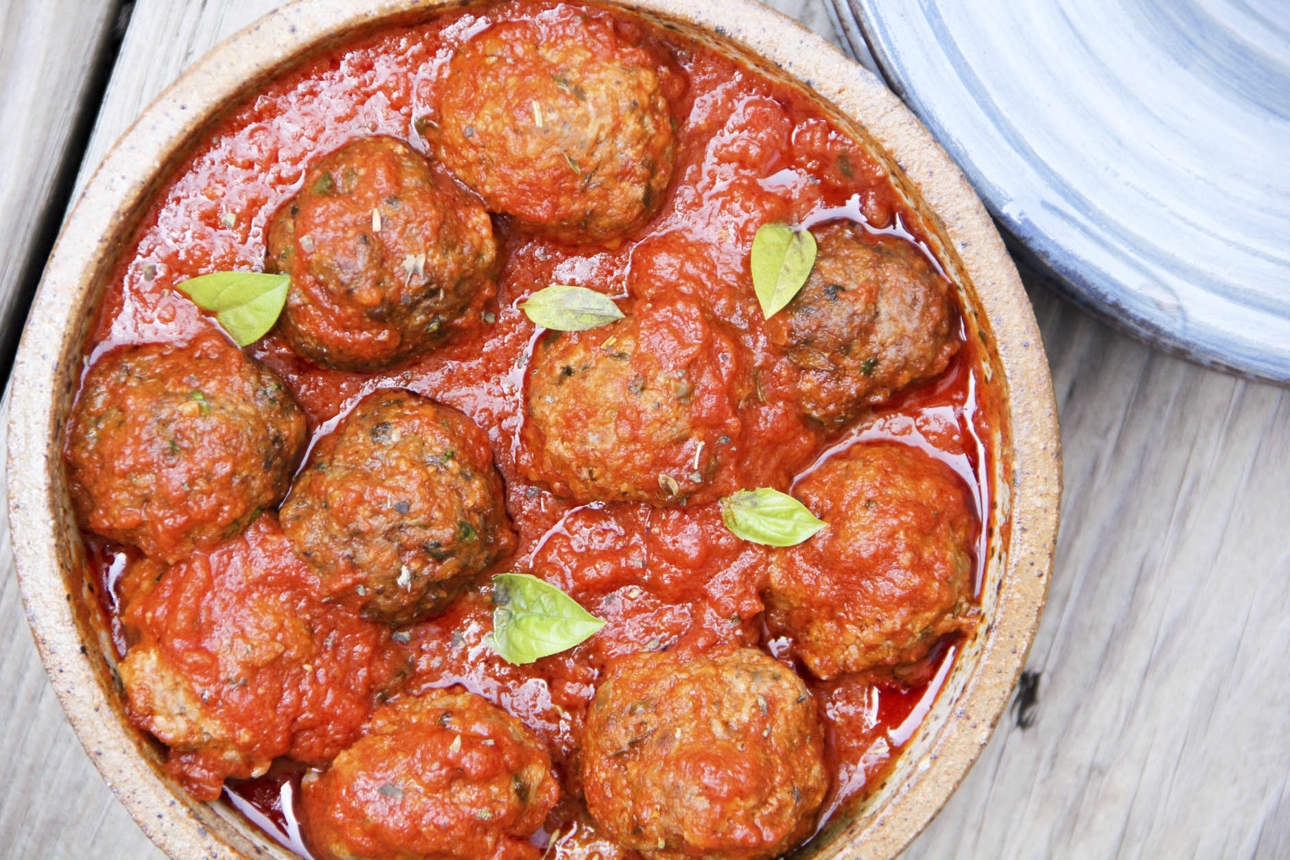 This Sept. 5, 2017 photo shows lightened Italian meatballs in Bethesda, Md. This dish is from a recipe by Melissa d'Arabian. (Melissa d'Arabian via AP)