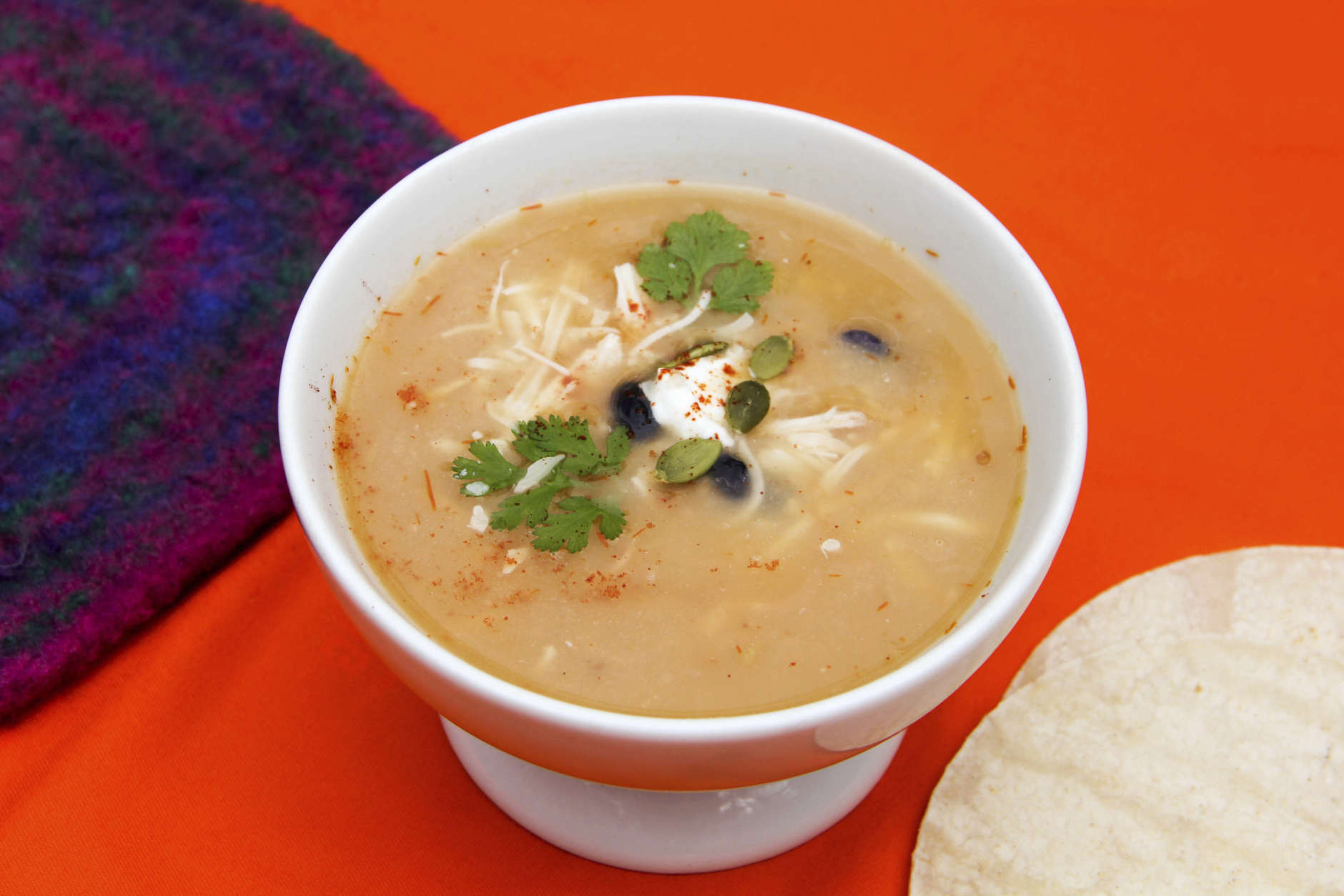This Oct. 4, 2017 photo shows a bowl of ten-minute tortilla soup in Bethesda, Md. This dish is from a recipe by Melissa d'Arabian. (Melissa d'Arabian via AP)