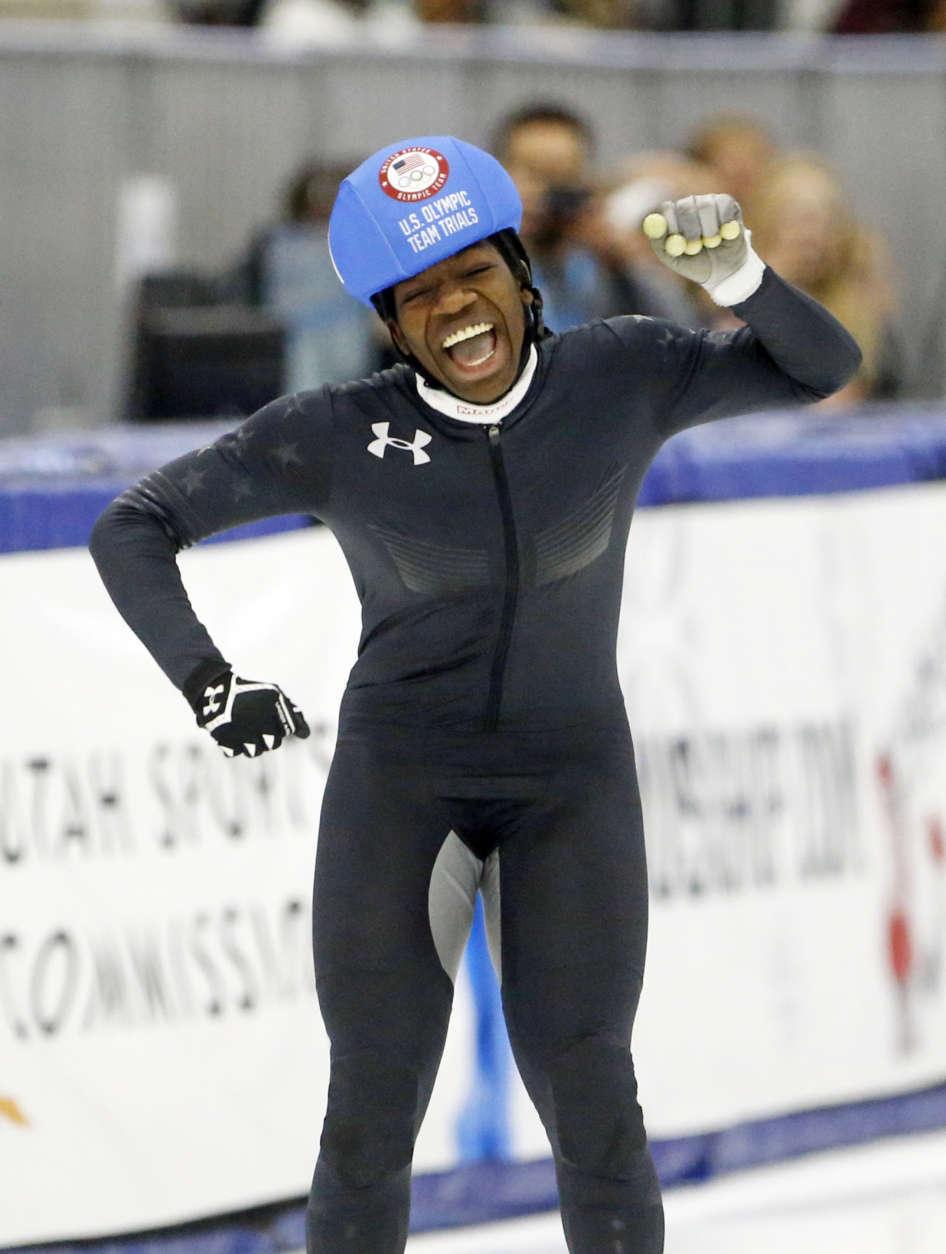 Maame Biney (1) reacts after winning women's 500-meter A final race during the U.S. Olympic short track speedskating trials Saturday, Dec. 16, 2017, in Kearns, Utah. (AP Photo/Rick Bowmer)
