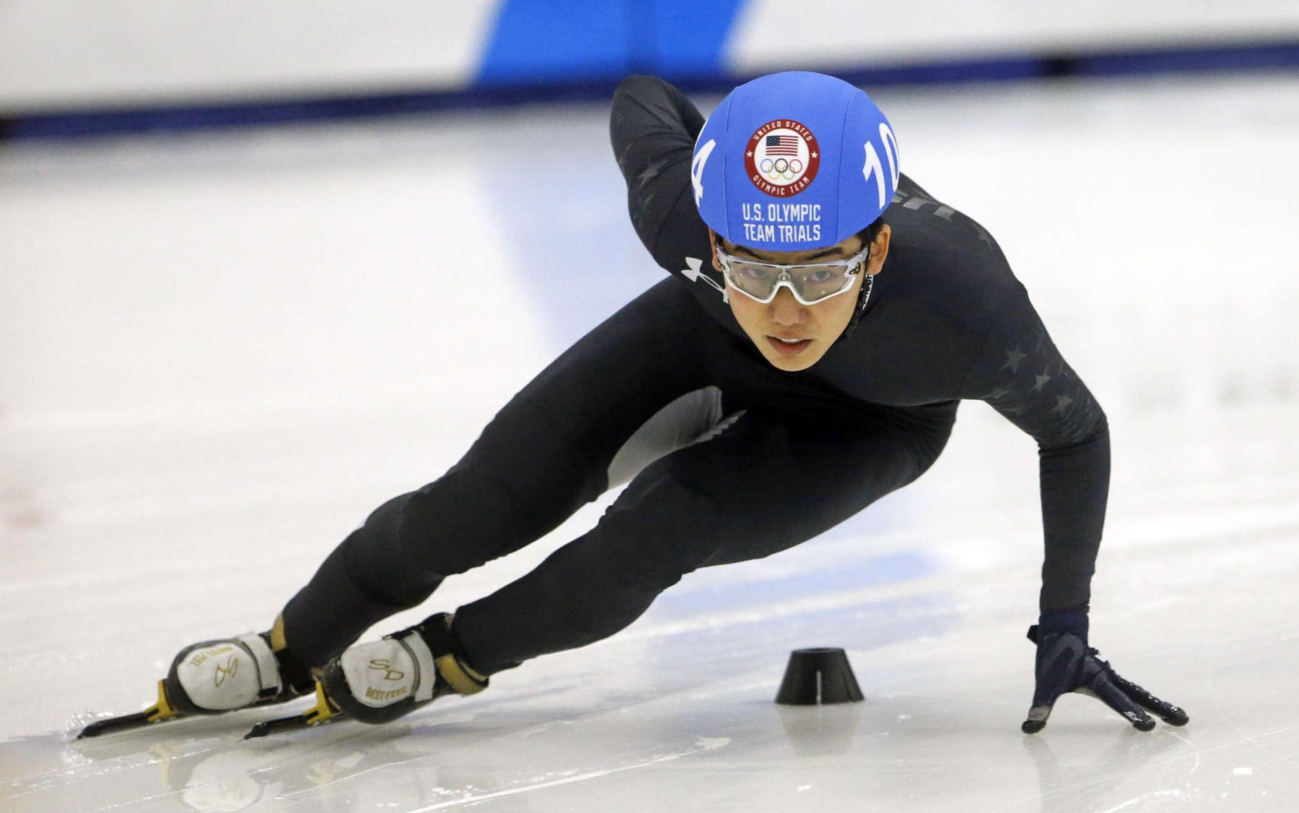 Thomas Insuk Hong (104) competes in the men's 500-meter during the U.S. Olympic short track speedskating trials Saturday, Dec. 16, 2017, in Kearns, Utah. (AP Photo/Rick Bowmer)