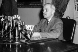 FILE - In this April 25, 1945, file photo, U.S. President Harry S. Truman speaks from a desk in Washington.  (AP Photo/File)