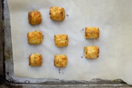 This November 2017 photo shows riced cauliflower tater tots in New York. This dish is from a recipe by Katie Workman. (Lucy Beni via AP)