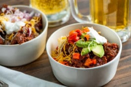 This August 2018 photo shows Texas red chili in New York. This dish is from a recipe by Katie Workman. (Cheyenne Cohen via AP)