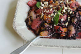 This September 21, 2015 photo shows black rice autumn salad in Concord, NH. (AP Photo/Matthew Mead)This Sept. 21, 2015 photo shows black rice autumn salad in Concord, NH. Rice salads are the perfect side dish that can be turned into a main meal just by adding some rotisserie chicken, tofu or fish.(AP Photo/Matthew Mead)