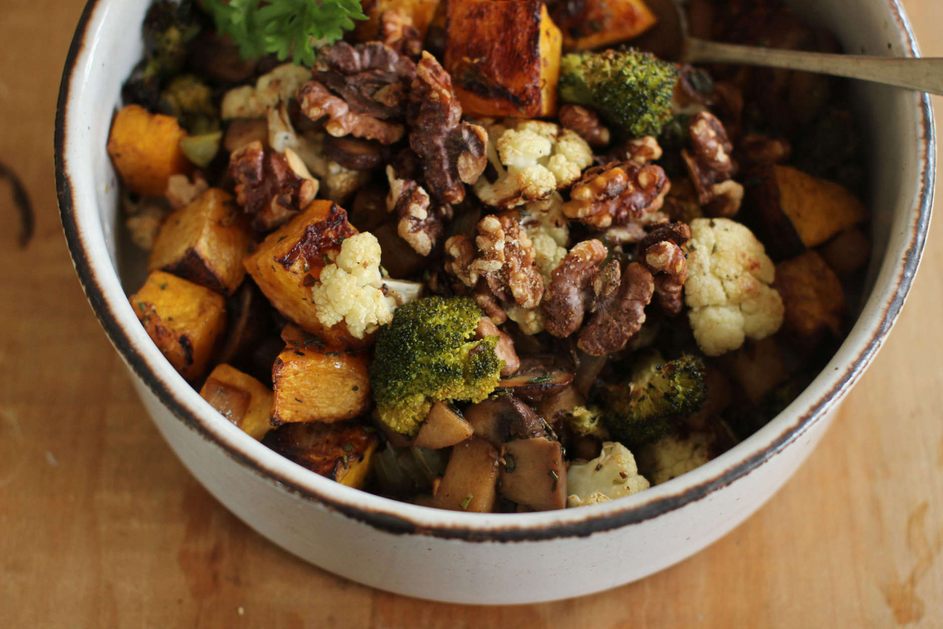 This This Sept. 28, 2015, photo shows veggie oven hash in Concord, N.H. This recipe relies on a mix of roasted vegetables for a caramelized sweetness that feels roasty and homey. (AP Photo/Matthew Mead)