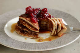 This Oct. 5, 2015 photo shows cranberry sauce, oat and flax pancakes in Concord, N.H. Making your own cranberry sauce this holiday is incredibly easy and it allows you to cut the sugar content in half without anyone missing it.  (AP Photo/Matthew Mead)