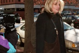 Linda Tripp arrives at the offices of Judicial Watch, a public interest law firm, in Washington Monday, Dec. 14, 1998 to give a deposition in a lawsuit about the FBI files controversy. Tripp, who formerally worked at the White House, and had her FBI security clearence released by the Pentagon to the news media, was to be questioned by Judicial Watch to determine whether the White House was behind the release of the information. (AP Photo/Dennis Cook)