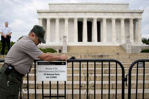 Services at monuments halted by government shutdown