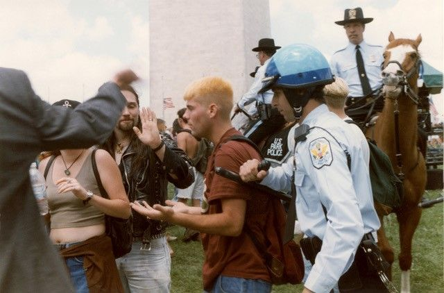 U.S. Park Police stopped the show during the second song because of the larger-and-rowdier than expected crowd. (Photo: 1995 by Brian Liu/ToolboxDC)