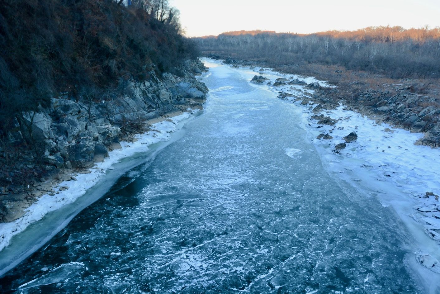 The Potomac River freezes over in early January, 2018 during a prolonged cold snap. (WTOP/Dave Dildine)