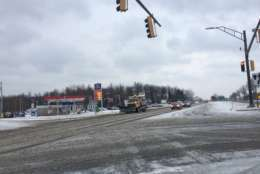 Roads are covered in snow and slush Waldorf, Maryland, one of the hardest hit places in the region. (WTOP/Nick Iannelli)