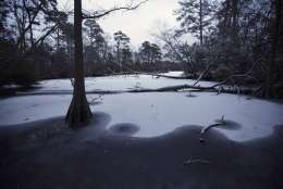 Late in the afternoon Wednesday, Jan. 3, 2018, snow covers the frozen waters of the Lake Lawson Lake Smith Natural Area in Virginia Beach, Va. A brutal winter storm smacked the coastal Southeast with a rare blast of snow and ice Wednesday, hitting parts of Florida, Georgia and South Carolina with their heaviest snowfall in nearly three decades. (L. Todd Spencer/The Virginian-Pilot via AP)