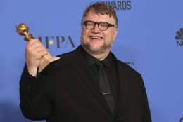 BEVERLY HILLS, CA - JANUARY 07:  Director Guillermo del Toro poses with the award for Best Director Motion Picture for 'The Shape of Water' in the press room during The 75th Annual Golden Globe Awards at The Beverly Hilton Hotel on January 7, 2018 in Beverly Hills, California.  (Photo by Kevin Winter/Getty Images)