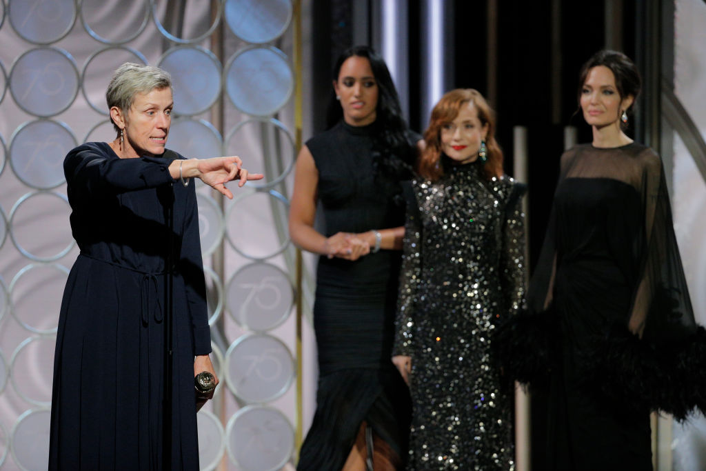 """BEVERLY HILLS, CA - JANUARY 07: In this handout photo provided by NBCUniversal, Frances McDormand accepts the award for Best Performance by an Actress in a Motion Picture – Drama for """"Three Billboards Outside Ebbing, Missouri"""" during the 75th Annual Golden Globe Awards at The Beverly Hilton Hotel on January 7, 2018 in Beverly Hills, California. (Photo by Paul Drinkwater/NBCUniversal via Getty Images)"""