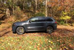 Outside, the Grand Cherokee Trackhawk flies under the radar for most people. Yes, it looks like it sits lower and it looks a bit more menacing than other Grand Cherokee models but it doesn't look like a 707 horsepower car. (WTOP/Mike Parris)