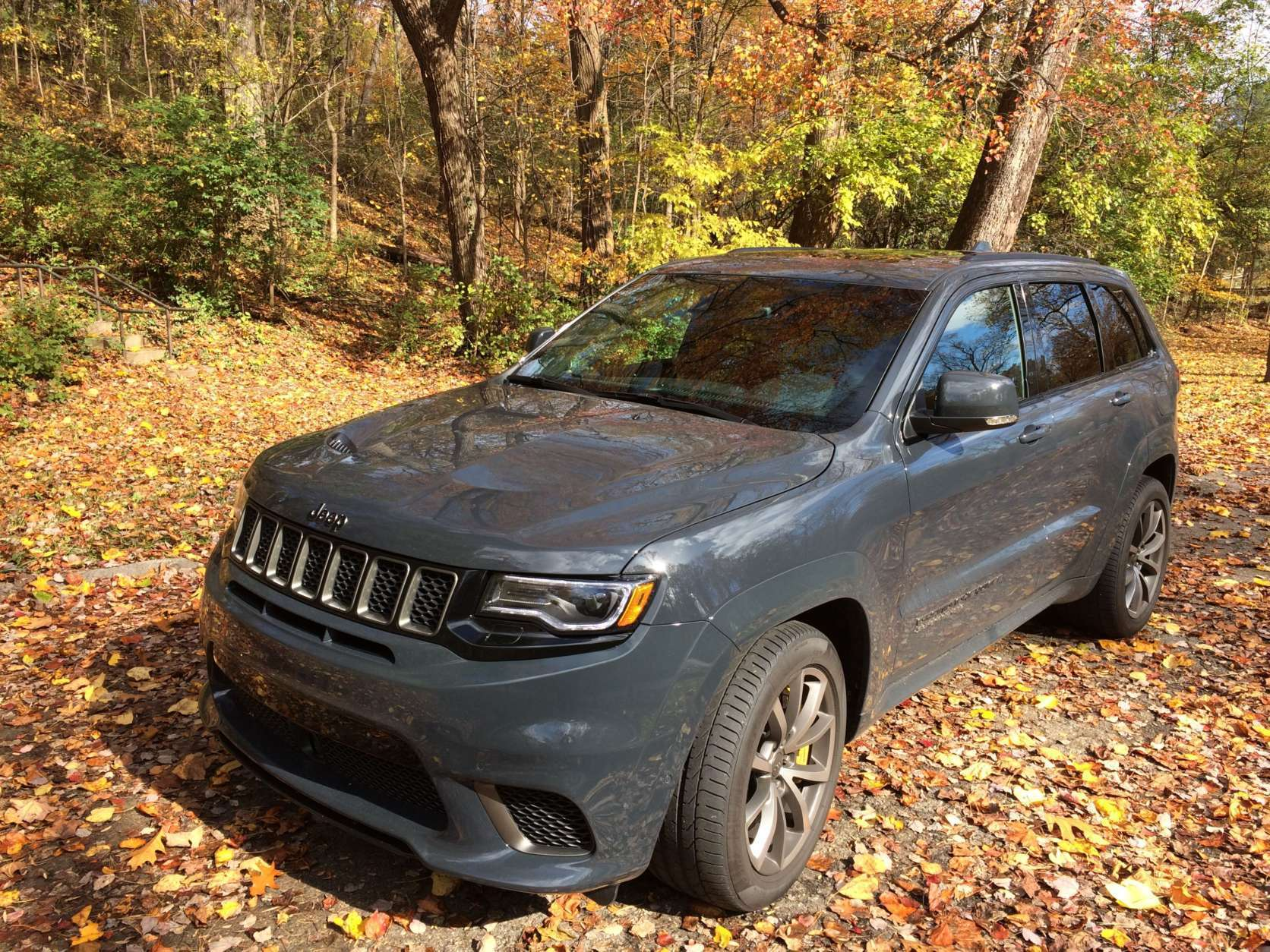 """Car guy Mike Parris drove the fully loaded $99,965 2018 Jeep Grand Cherokee for a week. He called it the most powerful SUV around, """"the car crazy people drive."""" (WTOP/Mike Parris)"""