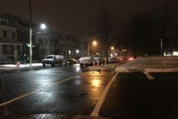 Main roads are wet but not too slick in Northwest D.C. Wednesday morning. (WTOP/Reem Nadeem)