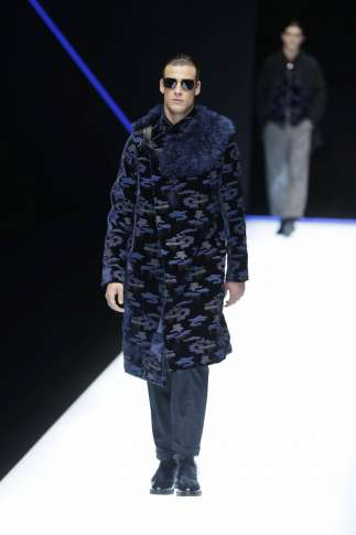 1c1a9ff70c5 Italy Fashion Emporio Armani 50787 A model wears a creation as part of the Emporio  Armani men s Fall-Winter 2018-19 collection, that was presented in Milan,  ...
