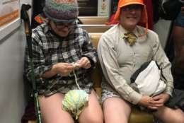 Sunday's spectacle of riders without pants marked the 10th anniversary of the No Pants Metro Ride DC. (WTOP/Liz Anderson)