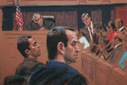 World Trade Center bombing suspects Eyad Ismoil, 26, left, and Ramzi Yousef, 29, foreground, watch the jury in this artist's rendering as the verdict is read Wednesday, Nov. 12, 1997, in New York. U.S. District Judge Kevin Duffy looks on in background. The defendants were found guilty on all counts Wednesday. (AP Photo/Jane Rosenberg)
