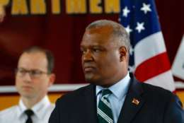 In a news conference Wednesday, Jan. 24, 2018, Prince George's County Executive Rushern Baker announced the lawsuit against opioid manufacturers and distributors. (WTOP/Kate Ryan)