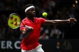 PRAGUE, CZECH REPUBLIC - SEPTEMBER 22:  Frances Tiafoe of Team World plays a forehand during his singles match against Marin Cilic of Team Europe on the first day of the Laver Cup on September 22, 2017 in Prague, Czech Republic.  The Laver Cup consists of six European players competing against their counterparts from the rest of the World. Europe will be captained by Bjorn Borg and John McEnroe will captain the Rest of the World team. The event runs from 22-24 September.  (Photo by Clive Brunskill/Getty Images for Laver Cup)