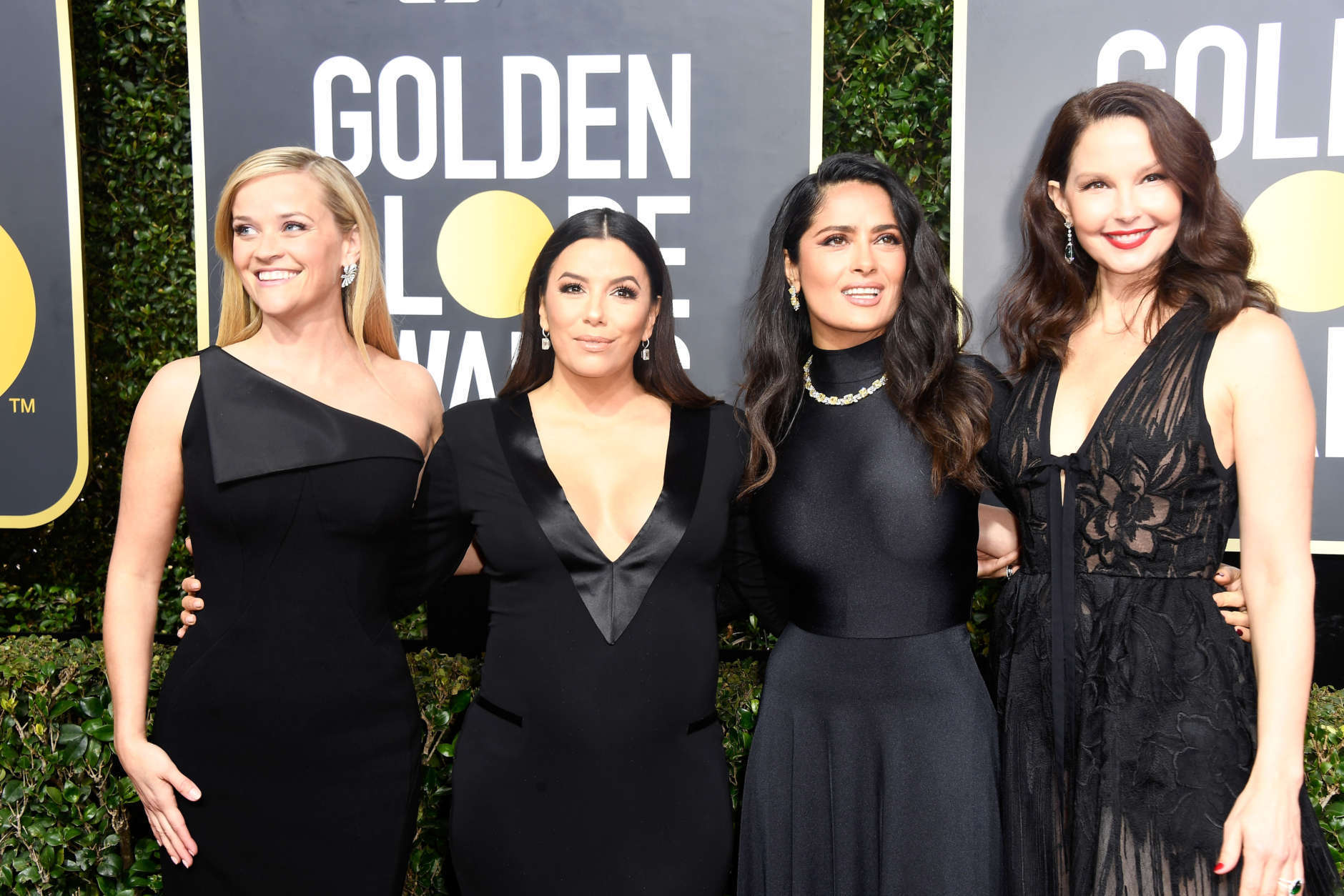 Actors Reese Witherspoon, Eva Longoria, Salma Hayek and Ashley Judd attend The 75th Annual Golden Globe Awards at The Beverly Hilton Hotel on January 7, 2018 in Beverly Hills, California.  (Photo by Frazer Harrison/Getty Images)