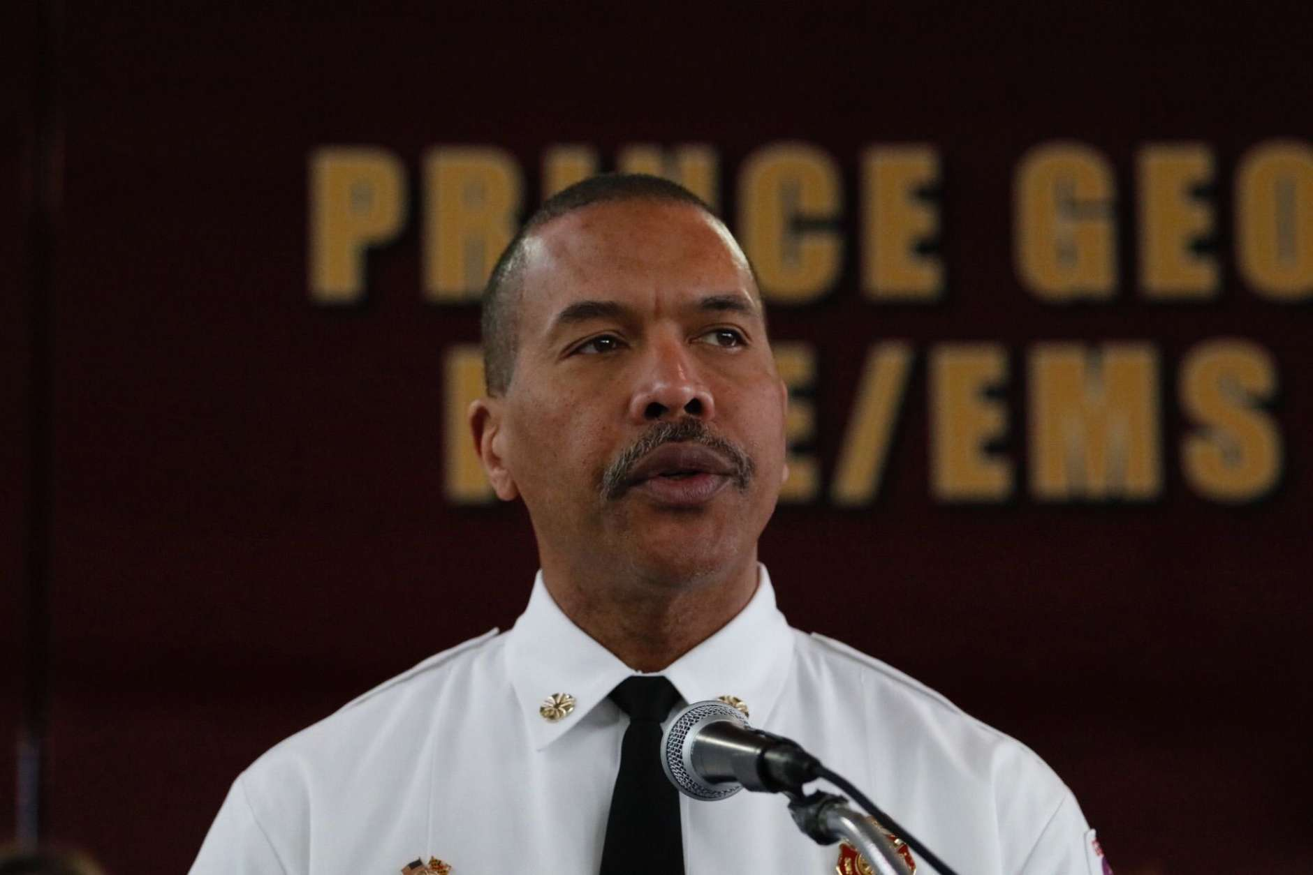Prince George's County fire Chief Benjamin Barksdale said in a news conference Jan. 24, 2018, announcing the county's lawsuit against opioid manufacturers that the fire department has experienced a 260 percent increase in Narcan administration since 2014. (WTOP/Kate Ryan)