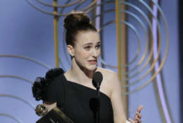 "In this handout photo provided by NBCUniversal,  Rachel Brosnahan accepts the award for Best Performance by an Actress in a Television Series – Musical or Comedy for ""The Marvelous Mrs. Maisel""  during the 75th Annual Golden Globe Awards at The Beverly Hilton Hotel on January 7, 2018 in Beverly Hills, California.  (Photo by Paul Drinkwater/NBCUniversal via Getty Images)"