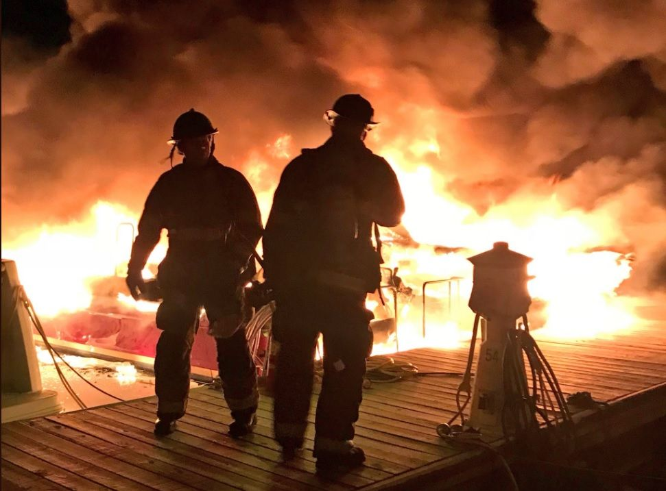 Firefighters were able to stop the fire from spreading to other boats. (Courtesy D.C. Fire and EMS)