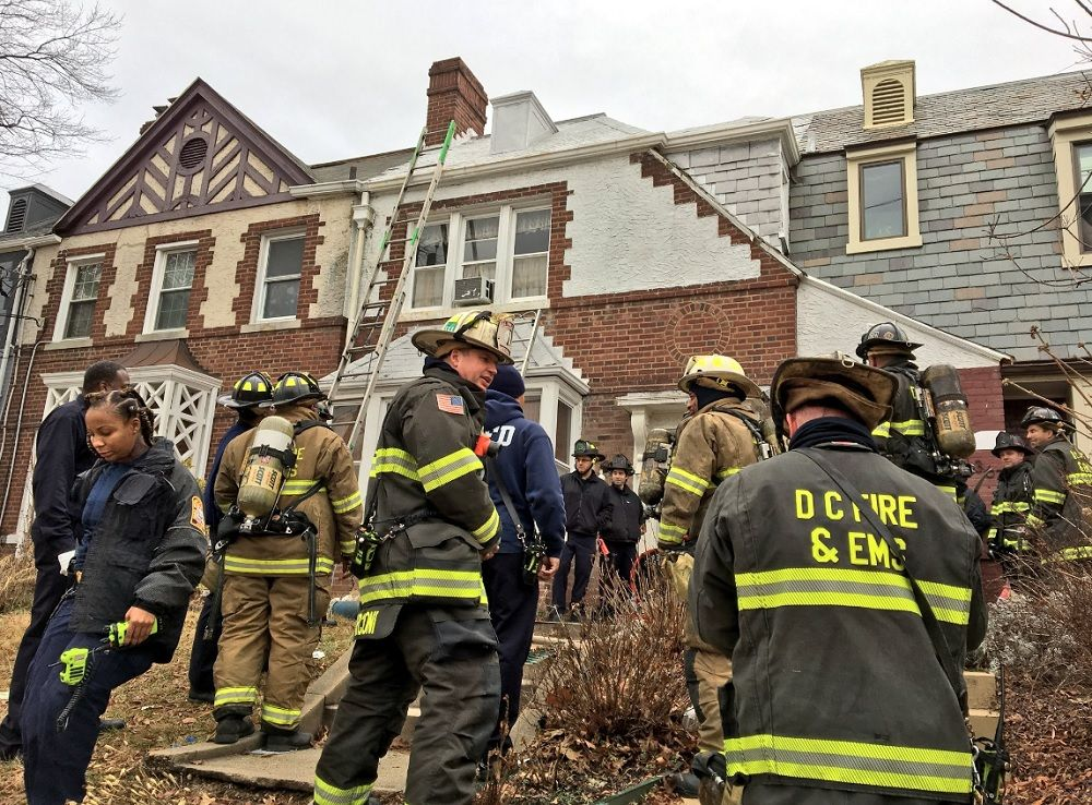 One woman was taken to the hospital with injuries after her clothes caught fire too. (Courtesy D.C. Fire and EMS)