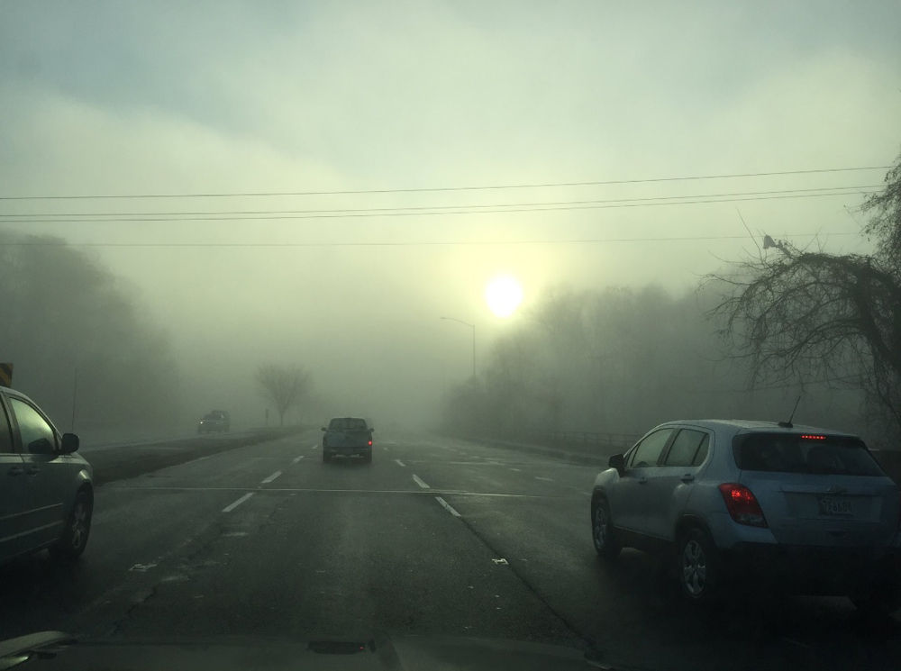 The sun peeks through a dense fog over the D.C. area on Tuesday morning. (Courtesy NBC Washington)