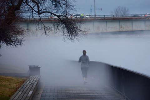 Dense fog blankets Potomac River amid mid-January warmup
