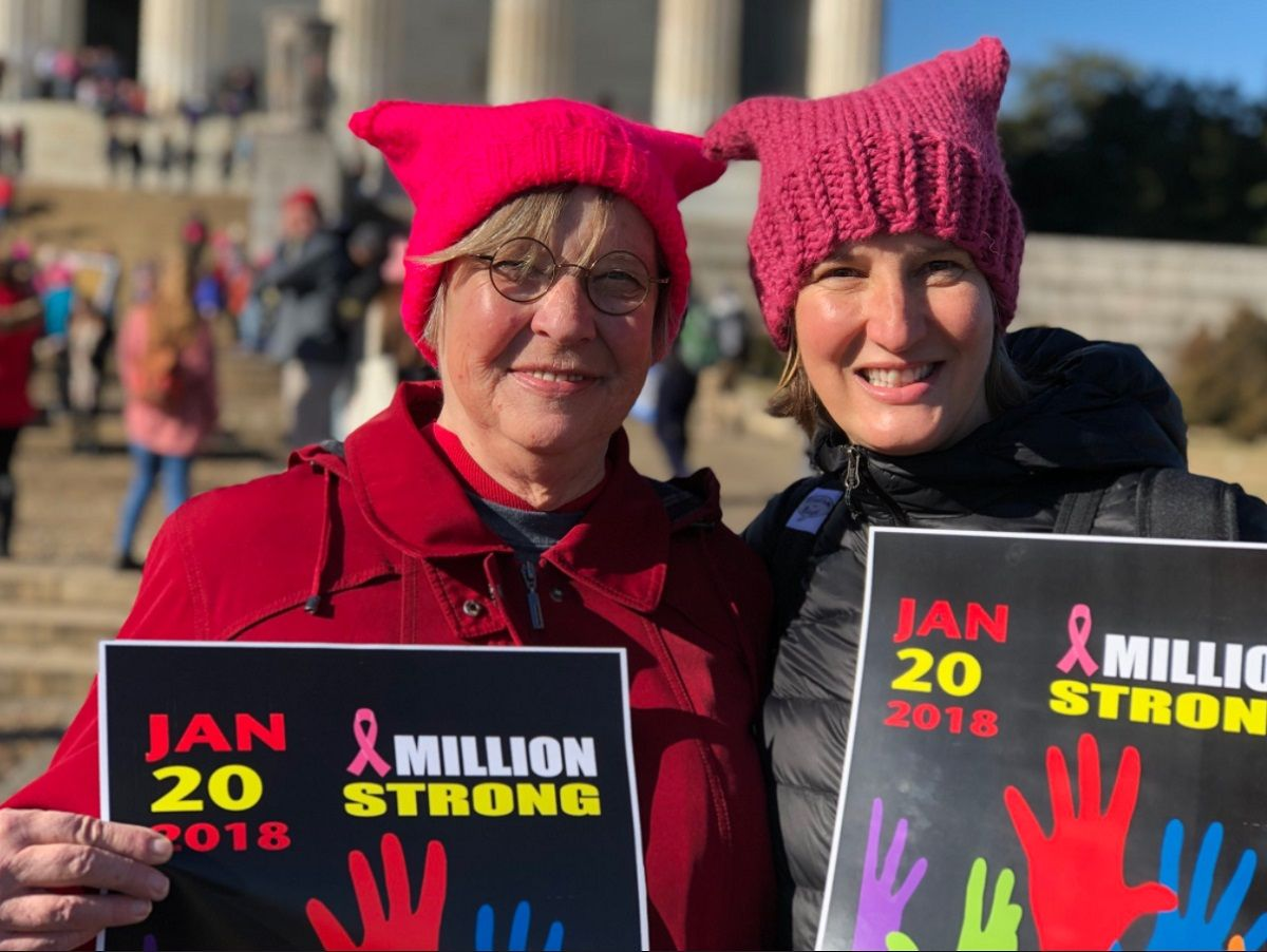 Pam Murray of North Carolina and her daughter Kendra Chittenden of Springfield, Virginia, came back for the 2018 march one year later. (WTOP/Kate Ryan)