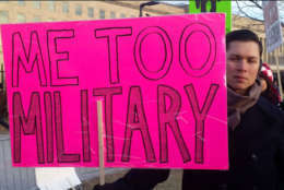 Protesters call attention to victims of sexual assault in the military outside the Pentagon on Monday, Jan. 8, 2018. (WTOP/Kathy Stewart)