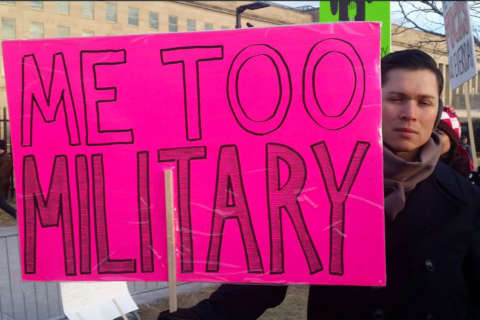Survivors of military sexual assault demand change outside Pentagon